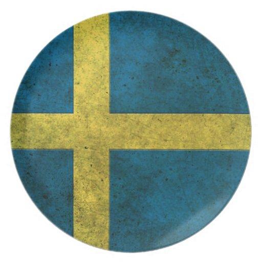 Efecto de acero envejecido bandera sueca platos para fiestas