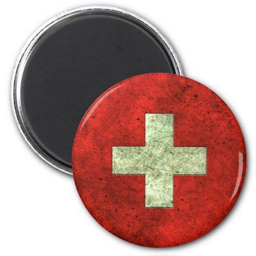 Efecto de acero envejecido bandera suiza imán redondo 5 cm