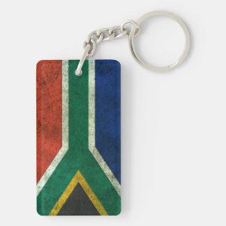 Efecto de acero envejecido bandera surafricana llavero rectangular acrílico a doble cara
