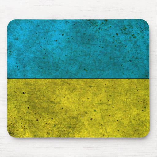Efecto de acero envejecido bandera ucraniana tapete de ratón