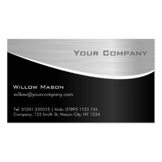 Efecto de acero negro tarjeta de visita profesion