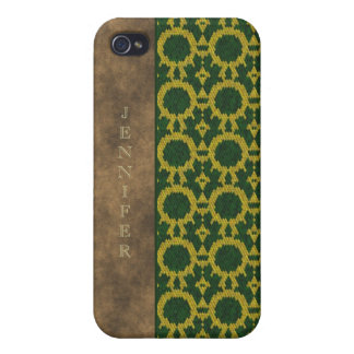 Efecto de cuero amarillo verde de la serpiente del iPhone 4/4S carcasa