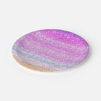 Efecto de la chispa del espectro de color plato de papel de 7 pulgadas