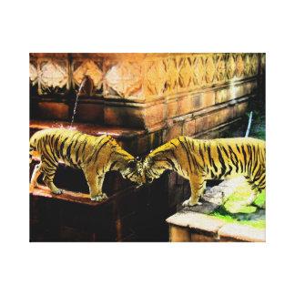 Efecto de la pintura al óleo de dos tigres lona envuelta para galerias