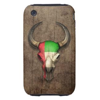 Efecto de madera del cráneo de Bull de la bandera  iPhone 3 Tough Protectores