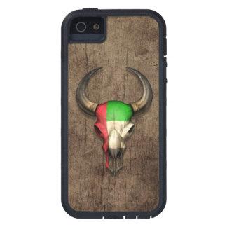 Efecto de madera del cráneo de Bull de la bandera  iPhone 5 Cárcasa