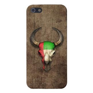 Efecto de madera del cráneo de Bull de la bandera  iPhone 5 Cobertura