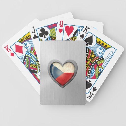 Efecto del acero inoxidable de la bandera del cora baraja de cartas