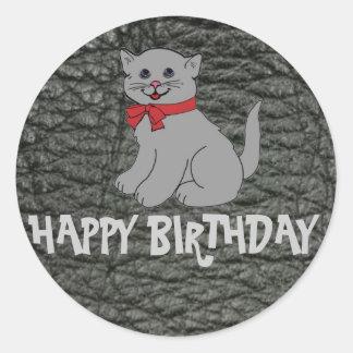 Efecto del cuero del negro del feliz cumpleaños pegatina redonda