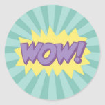Efecto del estilo del cómic del wow etiqueta redonda