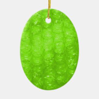 Efecto del plástico de burbujas de la verde lima adorno navideño ovalado de cerámica