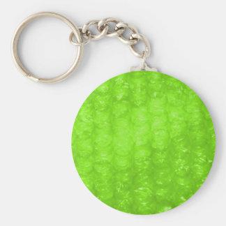 Efecto del plástico de burbujas de la verde lima llavero redondo tipo pin