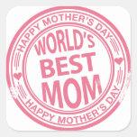 Efecto del sello de goma del día de madre colcomanias cuadradas personalizadas