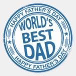 Efecto del sello de goma del día de padre etiqueta redonda