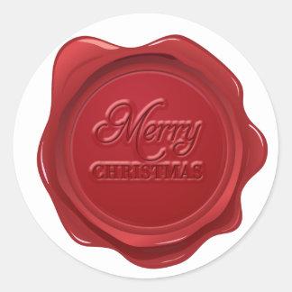 Efecto del sello de la cera de las Felices Navidad Pegatina Redonda