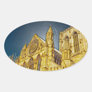 Efecto especial de la iglesia de monasterio de pegatinas de oval personalizadas