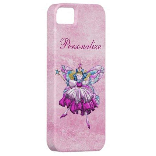 Efecto impreso hada rosada linda de la joya del ci iPhone 5 carcasas