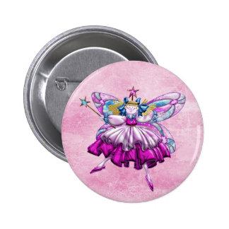 Efecto impreso hada rosada linda de la joya del ci pin redondo de 2 pulgadas