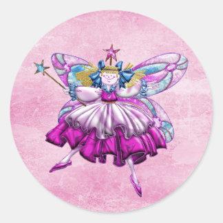 Efecto impreso hada rosada linda de la joya del pegatina redonda