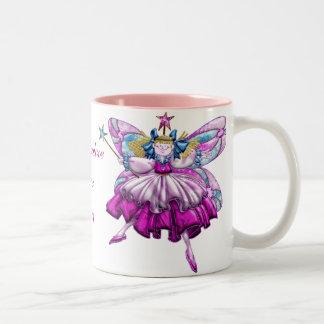 Efecto impreso hadas rosadas lindas de la joya del taza dos tonos
