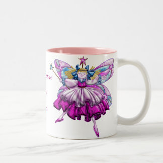Efecto impreso hadas rosadas lindas de la joya del taza de dos tonos