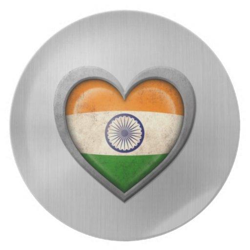 Efecto indio del acero inoxidable de la bandera de platos para fiestas