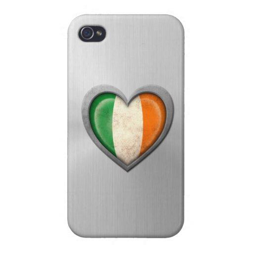 Efecto irlandés del acero inoxidable de la bandera iPhone 4 fundas