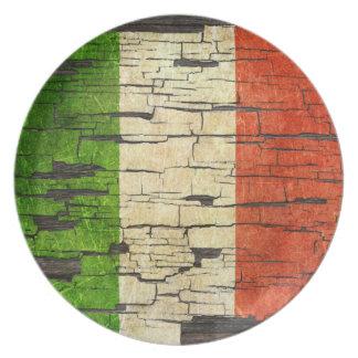 Efecto italiano agrietado de la pintura de la pela platos de comidas