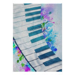 Efecto luminoso del piano circular azul fresco imp posters