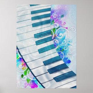 Efecto luminoso del piano circular azul fresco imp póster