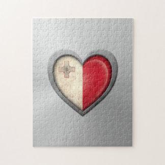 Efecto maltés del acero inoxidable de la bandera d puzzle