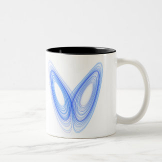 Efecto mariposa -- friki elegante taza de dos tonos