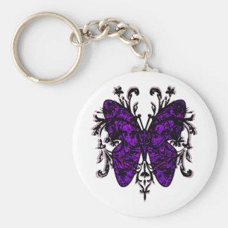 Efecto mariposa (púrpura) llavero redondo tipo pin