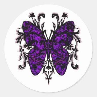 Efecto mariposa (púrpura) pegatina redonda