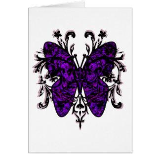Efecto mariposa (púrpura) tarjeta de felicitación