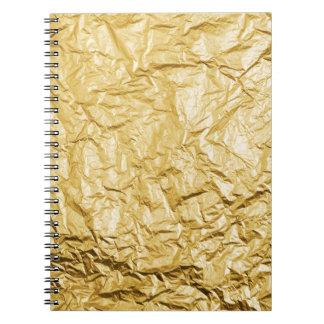 Efecto metálico arrugado falso oro de la hoja spiral notebooks