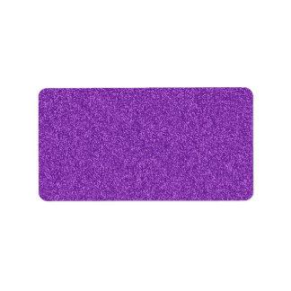 Efecto púrpura femenino de moda hermoso del brillo etiqueta de dirección