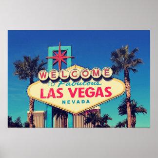 efecto retro Las Vegas fabuloso Nevada de la foto Póster