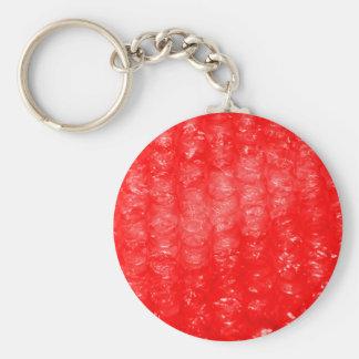 Efecto rojo brillante del plástico de burbujas llavero redondo tipo pin