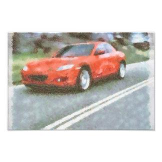 Efecto rojo de la acuarela del coche arte con fotos
