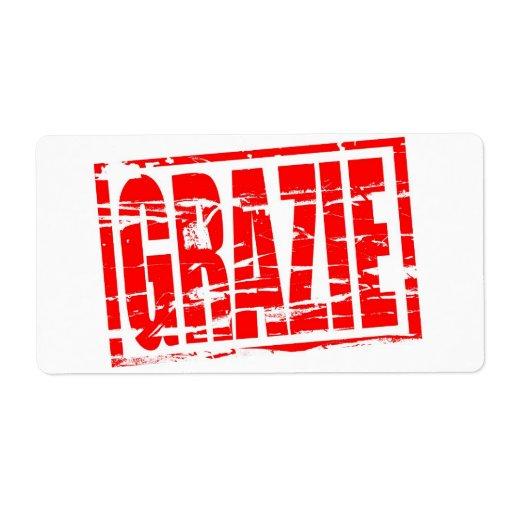 Efecto rojo del sello de goma de Grazie Etiquetas De Envío