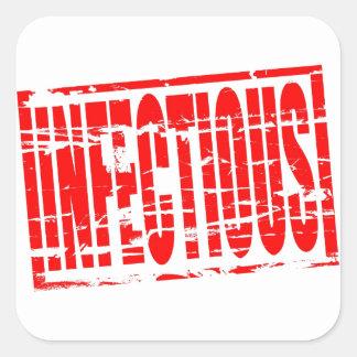 Efecto rojo infeccioso del sello de goma pegatina cuadrada