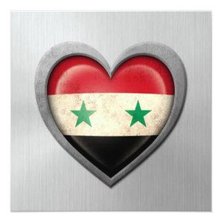 """Efecto sirio del acero inoxidable de la bandera invitación 5.25"""" x 5.25"""""""