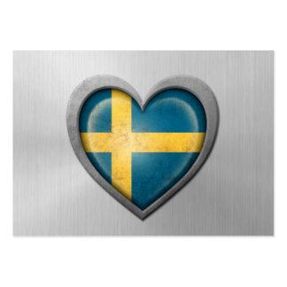 Efecto sueco del acero inoxidable de la bandera de tarjetas personales