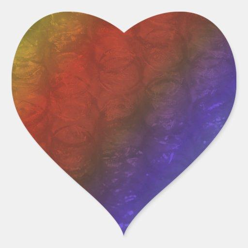 Efecto tropical del plástico de burbujas del arco pegatina en forma de corazón