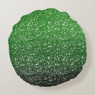 Efecto verde del brillo de Ombre Cojín Redondo