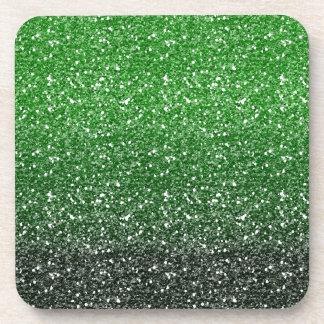 Efecto verde del brillo de Ombre Posavasos De Bebida