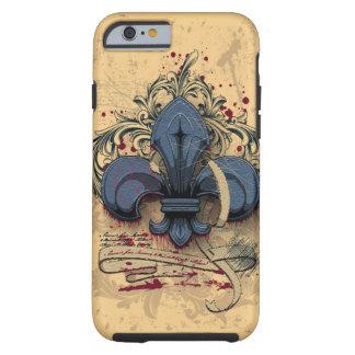 Efectos azules del grunge del metal de la flor de funda para iPhone 6 tough