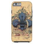 Efectos azules del grunge del metal de la flor de funda resistente iPhone 6