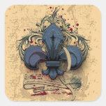 Efectos azules del grunge del metal de la flor de pegatinas cuadradas personalizadas